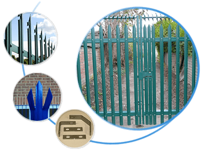 Four pictures about palisade fence or gate, fence with one pointed & notched top, palisade gate, triple pointed top and palisade fishplates.