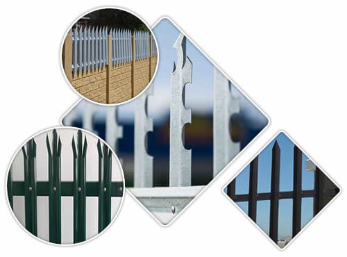 Four pictures about palisade fence, they are green powder coated, galvanized, black PVC coated and an extended wall fence.