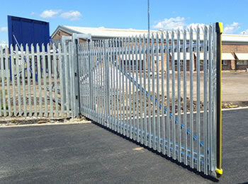 An opening cantilever palisade gate for a plant, the gate with palisade fence panel together serves as security fence for plant.