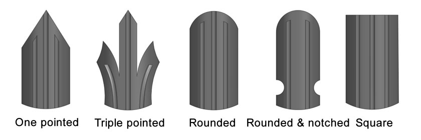 Five types of W & D section pales, one pointed, triple pointed & splayed, rounded, rounded & notched, square.
