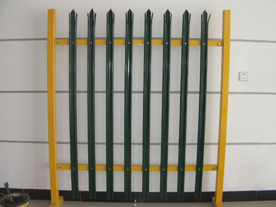 PVC coated triple pointed palisade panel with eight W section pales, the color of pales are green, the posts and the rails are yellow.